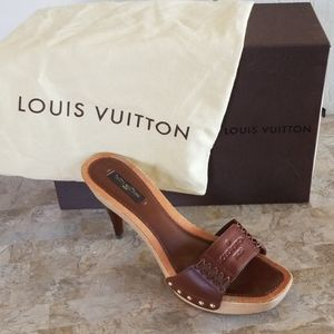 Authentic Louis Vuitton Chocolate Leather Heels